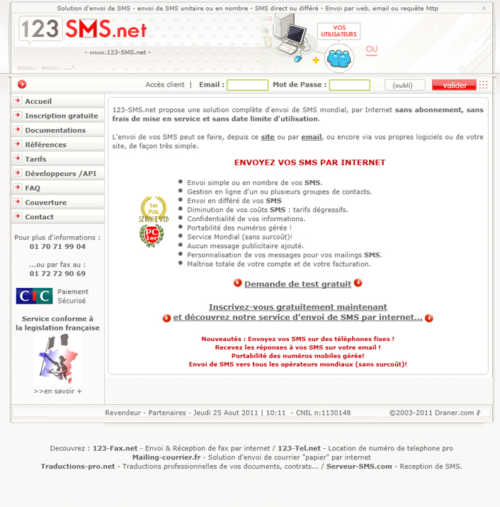 creation Création site e-commerce >> 123 sms